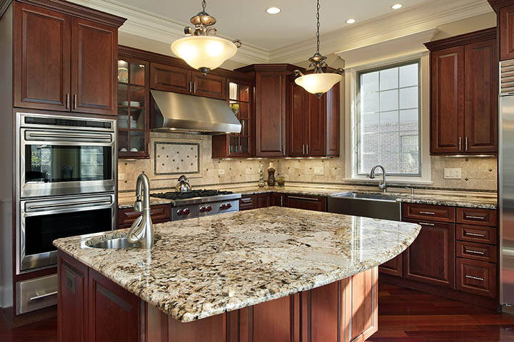 granite countertops kitchen radius island