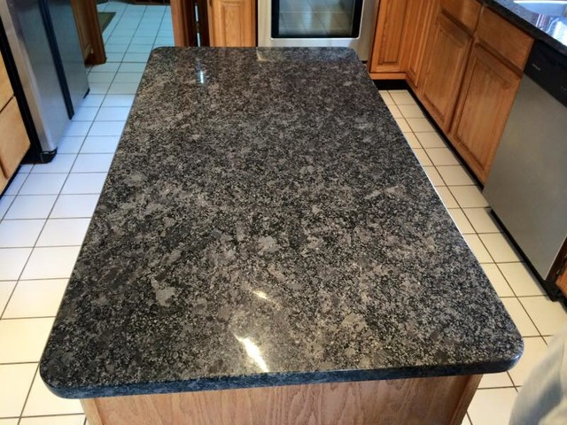 steel grey granite island